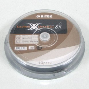 דיסק לצריבה DVD+R DL 8.5gb Ritek 10pcs
