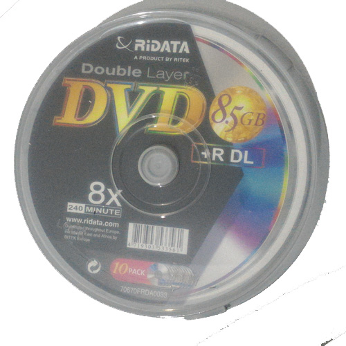 דיסק לצריבה 10pcs DVD+R DL 8.5gb RiDATA