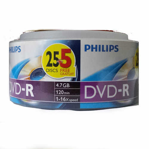 דיסק לצריבה DVD-R 4.7GB Philips 30pcs