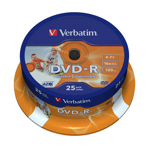 דיסק לצריבה DVD-R 4.7gb Printable Cake Verbatim 25pcs